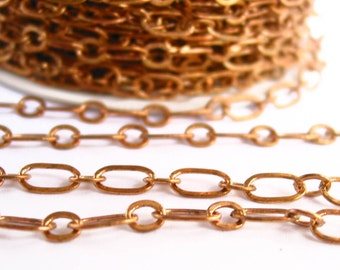 3 / 6 meters (9.82') 8mm x5mm -  5mm x 4mm big small loop solid raw Brass fancy flat oval chain soldered - red brass