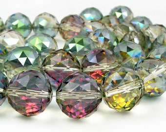 Large 16mm 20mm Sahara Green Half coat AB Designer Crystal Faceted Round Beads disco ball  PICK SIZE