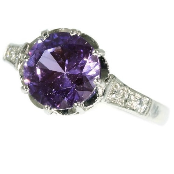 amethyst engagement ring platinum purple amethyst