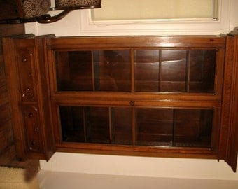 REDUCED Antique Walnut Cabinet Storage Display Case