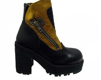 Cyberpunk Platform Boots Vintage Womens Destroy Mustard Yellow  Leather Zip Boots Fits Wms Sz 10 Euro Sz 40-41
