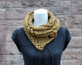 knitted chunky scarf, button scarf, mustard scarf, knitwear uk, gift for her