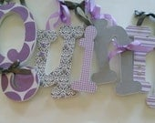 Wood Name Letters,  Hanging Wall Decor, Baby Girl, Nursery Decor, Lavender and Grey, Lilac, Custom Wooden, Personalized Decor, Dots, Damask