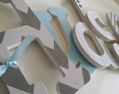 Baby Boy, Custom Nursery, Wall Wooden Letters, Light Blue and Grey, Personalized Decor, Chevron, Stripes, Plaid, Hanging Name Letters
