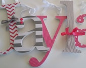 Hot Pink and Grey Custom Wooden Nursery Decor Letters, Baby Girl, Wood Letter, Chevron, Stripe and Dot,