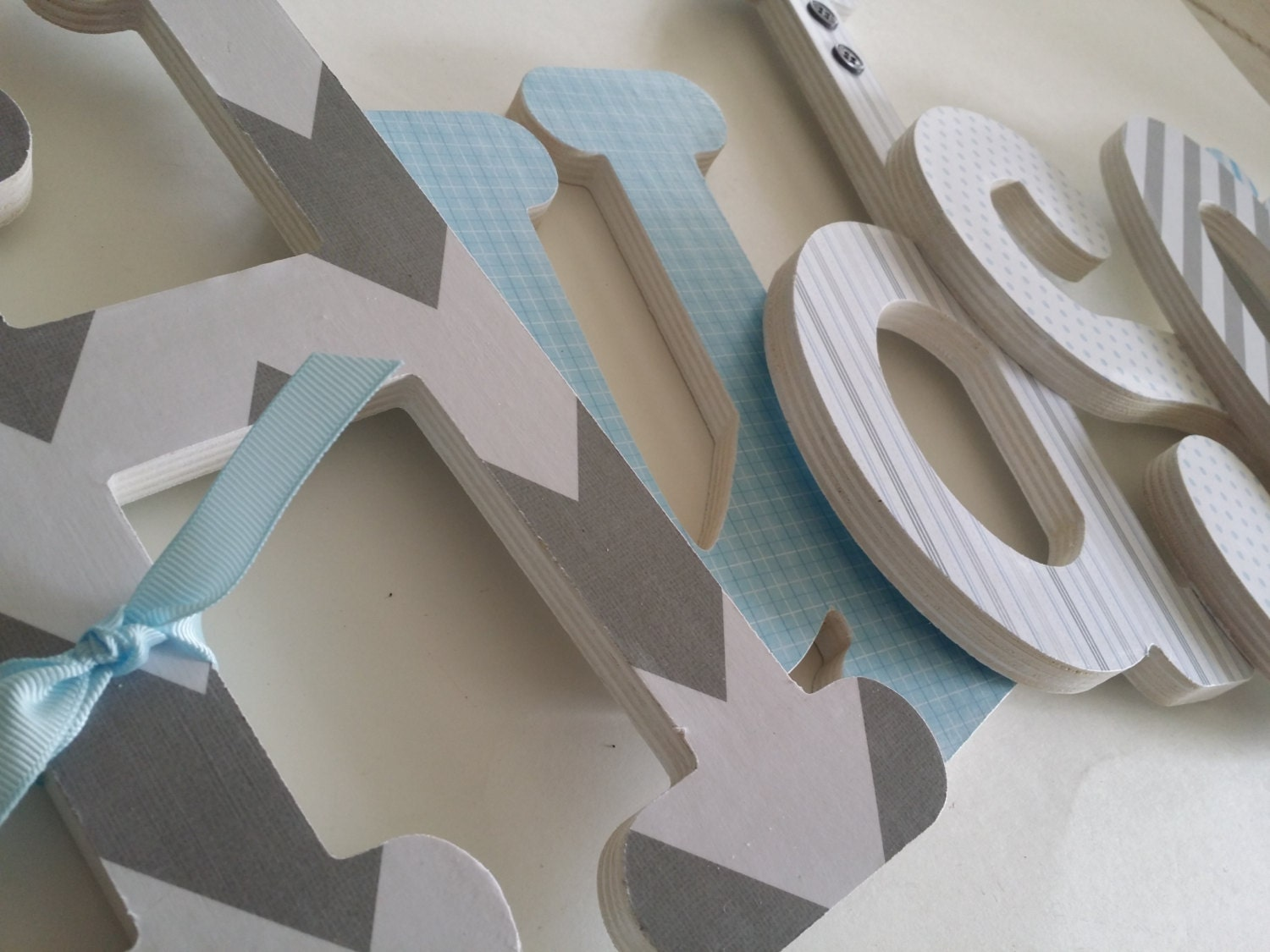 Baby Boy Custom Nursery Wall Wooden Letters Light Blue And