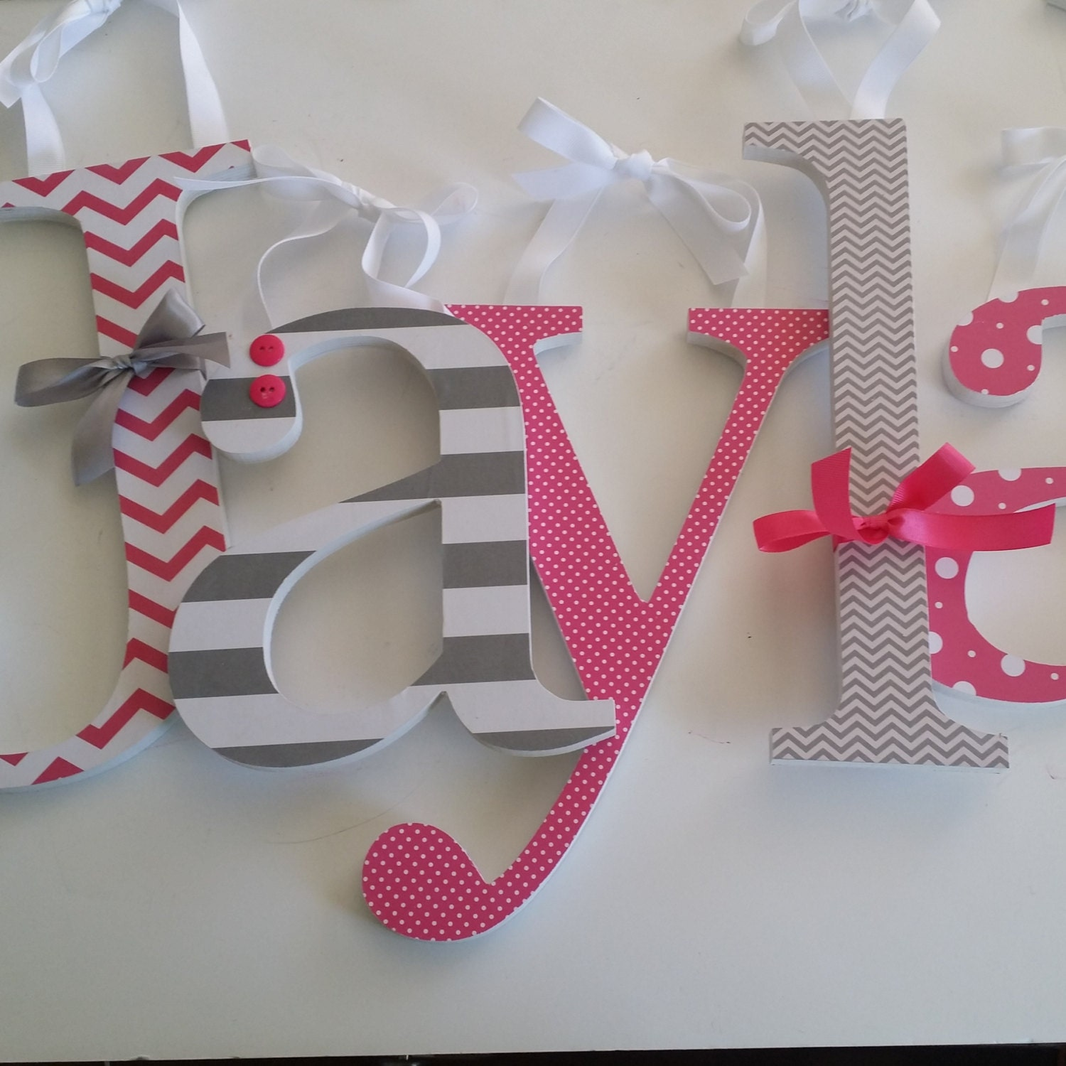 Hot pink and grey custom wooden nursery decor letters baby for Baby girl wall decoration