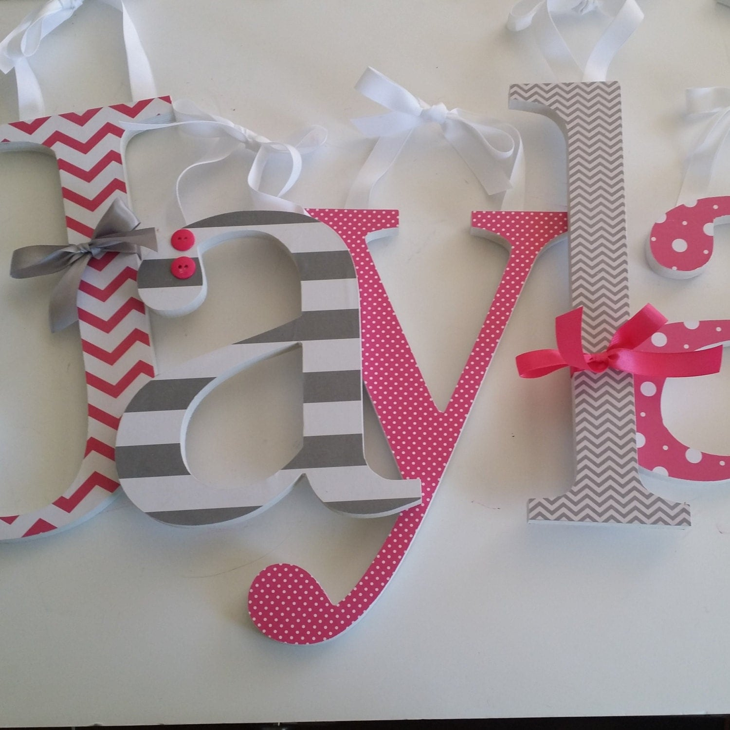 Hot pink and grey custom wooden nursery decor letters baby for Letter n decorations