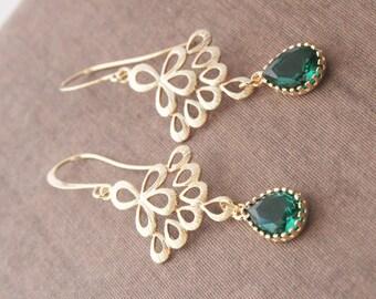 Emerald Earrings,Gold Earrings,Delicate Earrings,Green Earrings,Dangle Earrings,Long Earrings