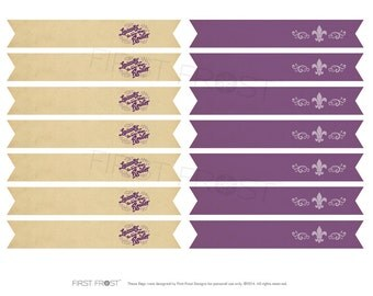 Mardi Gras Printable Straw Flags - INSTANT DOWNLOAD