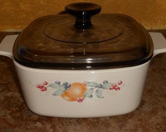 "Vintage Corningware ""Abundance""-1.5 Liter Casserole Dish with Amber Lid-Handle-NICE"