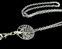 ID Badge Holder Lanyard with Silver Tree of Life