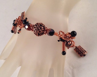 """Antique and Bright Copper Charm Bracelet One of a Kind Adjustable Fits Wrist Sizes 7.75"""" and Smaller Previously 40 Dollars ON SALE"""