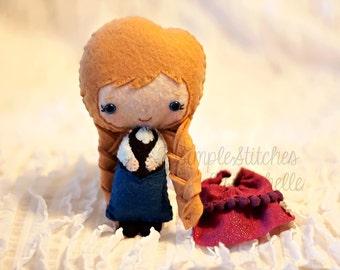 "5.5"" Anna Felt Made to Order Doll - Anna Doll - Frozen - Disney - Handmade Miniature Doll - Fairy Tale Doll - Gingermelon Doll"