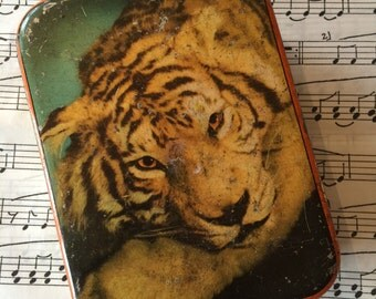 A delightful vintage (1950s) confectionery tin by Edward Sharp & Sons, featuring a tiger and bamboo