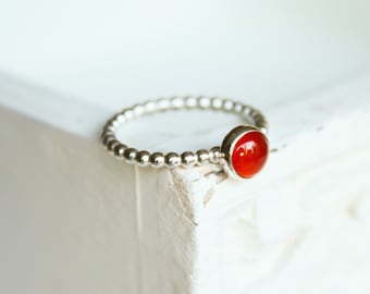Stacking ring sterling silver ring with carnelian