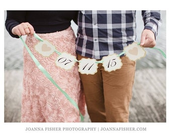 Save the Date Wedding Photo Prop Banner Prepared with your Wedding Date and Wedding Colors