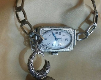Unusual antique ladies wrist watch & sterling silver Fob carnelian Fish Zodiac Piecese