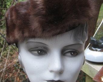 Great Vintage 1930s Black wool Mink Fur Tilt Topper Hat Hot Sexy Hollywood Glam
