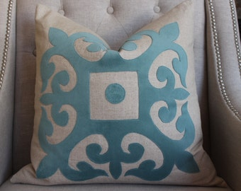 "Aqua Velvet applique pillow cover - 22""X22""  - Pattern on the front - Made to order"