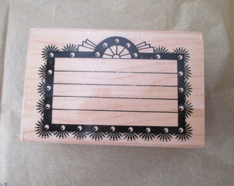 rubber stamp mounted on wood - border, frame, Broadway Marquee