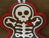 Skeleton gingerbread embroidered tree ornament