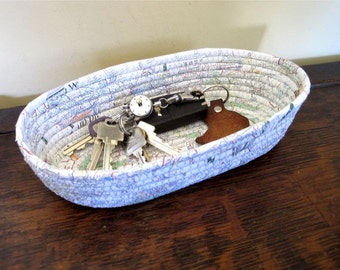 Catchall Basket - Map Art Valet - Bowl for Keys - Fiber Art - Geocaching Gift