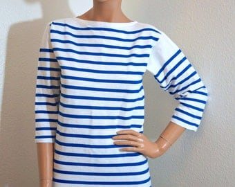Popular items for white stripes shirt on etsy for Striped french sailor shirt