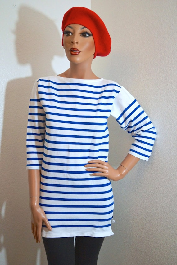 vintage french sailor shirt nautical blue by
