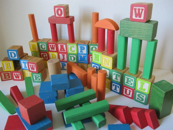 Vintage Playskool Abc Wood Blocks Wooden Letters Alphabet