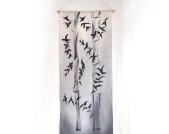 Silk Painting Japanese Style Bamboo Home Decor Art Wall Hanging OOAK Grey Black By TanjaDesign.etsy.com