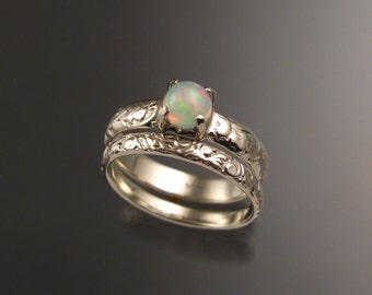 opal and 14k white gold natural ethiopian opal wedding ring set victorian floral pattern band made - Opal Wedding Ring