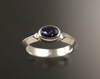 Iolite gemstone ring sterling silver Sapphire substitute ring with triangular band made to order in your size
