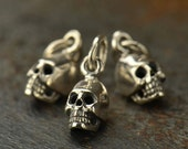 Mini Skull Sterling Silver Charm - Bones, Skulls, Skeleton, Rebirth, Spiritual Awakening, C1125