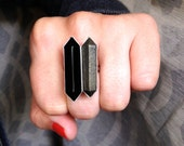 Glam Rock Hexagon Black Agate and Pyrite Wand Double Terminated Point Sterling Silver Ring | Boho Ring | Rocker | Geometric Ring