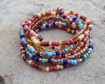 Stretch Stackable beaded Festival bracelets, colorful Gypsy bracelets, Boho Hippie - 9-Stack