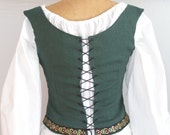 Emerald green linen medieval fantasy shieldmaiden bodice with corset style laced back -ready to ship-