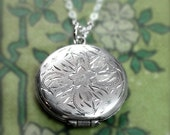Vintage Silver Locket Necklace, Small Round Photo Keeping Sterling Pendant - Flower Whimsy