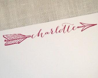 Personalized Stationery Custom Stationary- Arrow Through Name