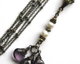 Plum Quartz and Pearl Multistrand Necklace
