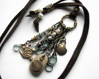 Leather Beach Necklace with Steel Blue Aquamarine, Pearl, Wellfleet Beach Stones, Bronze Clam Shell, Compass and SeaTurtle Charms