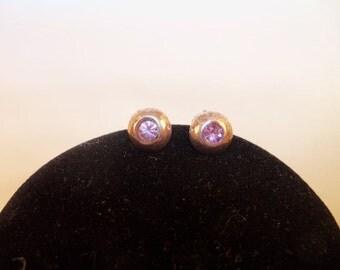 Lovely Vintage Sterling Silver 925 Amethyst Pierced Earrings
