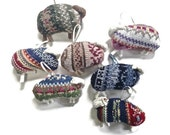 Fair Isle Sheep Ornaments Up Cycled Sweaters