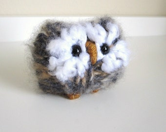 Little Knitted Owl, Keepsake Plush Animal, Wool and Mohair