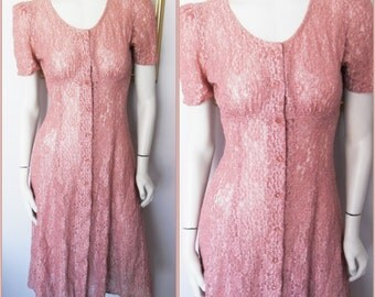 Vtg.80s Dusty Pink Rayon Lace 40s Style Dress by All that Jazz.S.Bust 36.Waist 28.