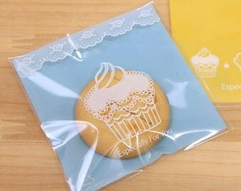 30 Mini Cupcake Self Sealing Cellophane Bags - Blue (3.5 x 3.5in)