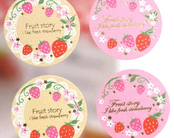 16 Strawberry Lace Circle Stickers (1.5 x 1.5in)