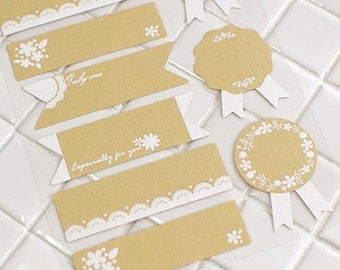 24 Memo & Medal Name Tag Kraft Stickers (2.4 x 0.7 / 1.2 x 1.5in)