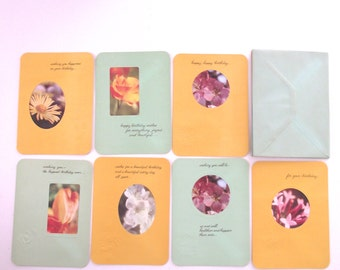 Vintage Greeting Cards, Set of 7 Unused Cards with Flower Photo Insets