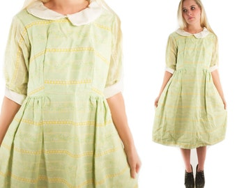 EDIE 60s Sweet Green Lime Mint Striped Handmade Floral Hippie Peter Pan Collar Mod Retro Boho Indie Day Party Dress Small Medium S M